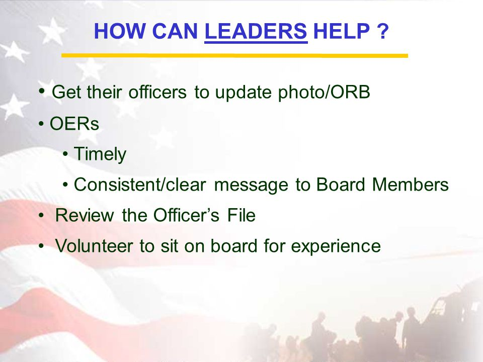 HOW CAN LEADERS HELP .