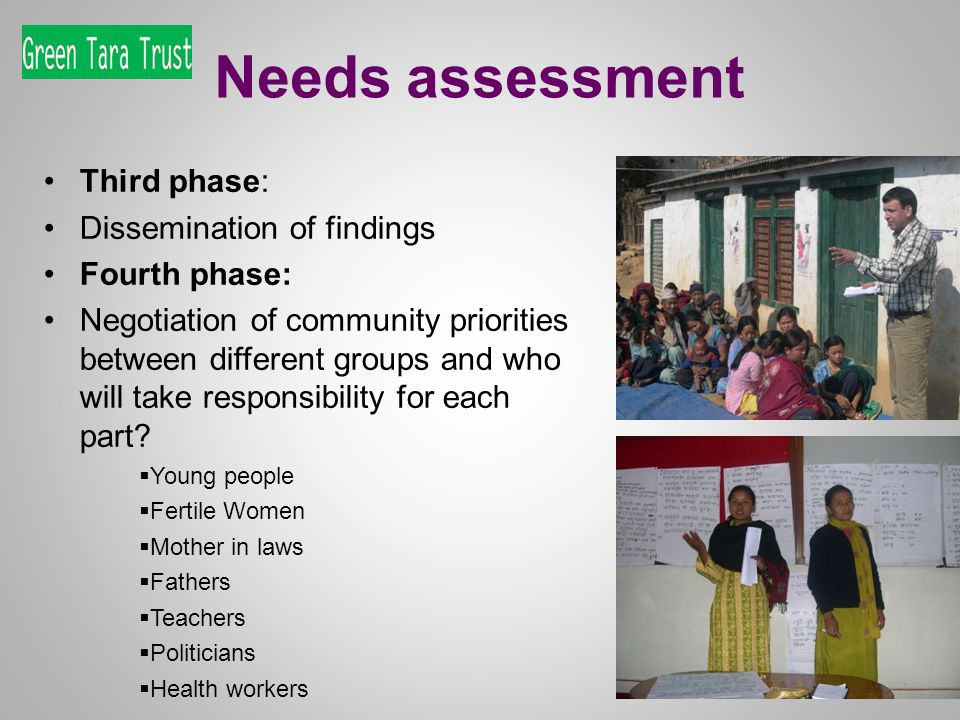 Needs assessment Third phase: Dissemination of findings Fourth phase: Negotiation of community priorities between different groups and who will take responsibility for each part.