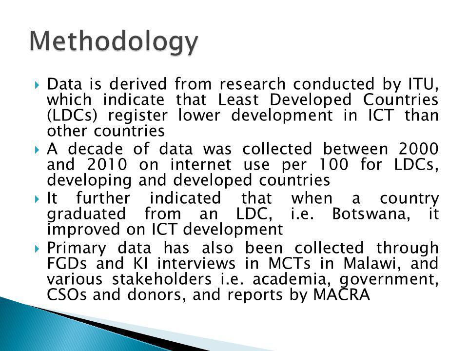 Data is derived from research conducted by ITU, which indicate that Least Developed Countries (LDCs) register lower development in ICT than other coun