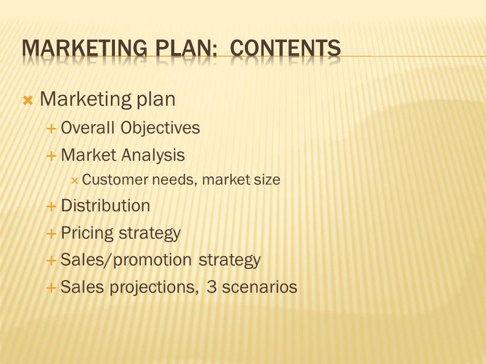 Marketing plan Overall Objectives Market Analysis Customer needs, market size Distribution Pricing strategy Sales/promotion strategy Sales projections