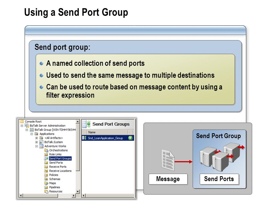 Send Port Group Send port group: A named collection of send ports Used to send the same message to multiple destinations Can be used to route based on message content by using a filter expression A named collection of send ports Used to send the same message to multiple destinations Can be used to route based on message content by using a filter expression Using a Send Port Group Message Send Ports