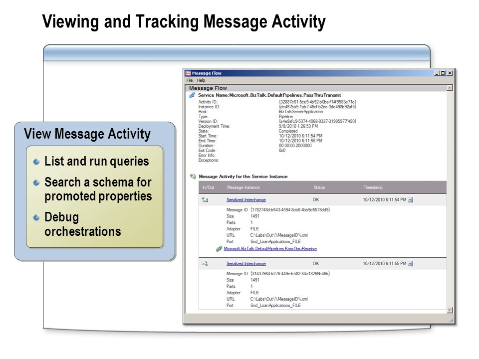 Viewing and Tracking Message Activity View Message Activity List and run queries Search a schema for promoted properties Debug orchestrations List and run queries Search a schema for promoted properties Debug orchestrations