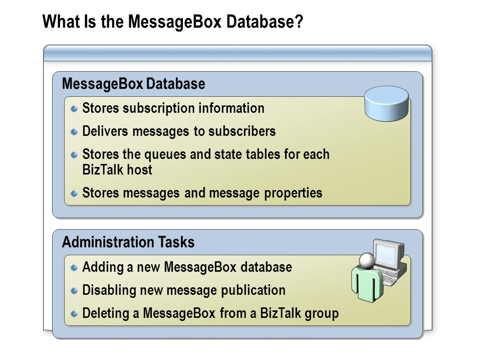 Administration Tasks Adding a new MessageBox database Disabling new message publication Deleting a MessageBox from a BizTalk group Adding a new MessageBox database Disabling new message publication Deleting a MessageBox from a BizTalk group MessageBox Database Stores subscription information Delivers messages to subscribers Stores the queues and state tables for each BizTalk host Stores messages and message properties Stores subscription information Delivers messages to subscribers Stores the queues and state tables for each BizTalk host Stores messages and message properties What Is the MessageBox Database