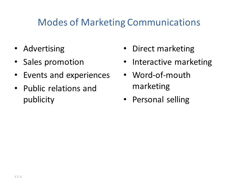 17-3 Modes of Marketing Communications Advertising Sales promotion Events and experiences Public relations and publicity Direct marketing Interactive