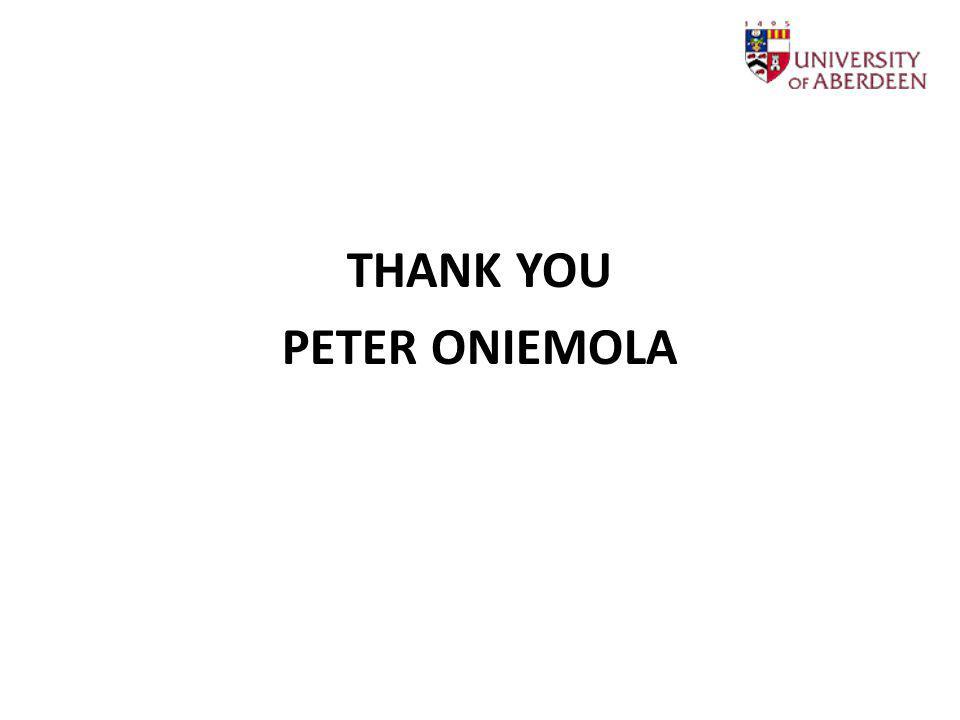 THANK YOU PETER ONIEMOLA