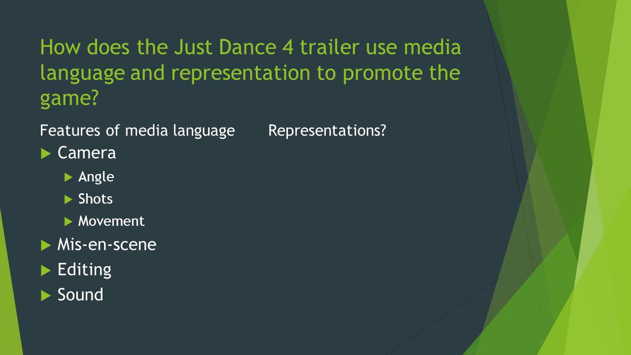 Features of media language Camera Angle Shots Movement Mis-en-scene Editing Sound Representations?