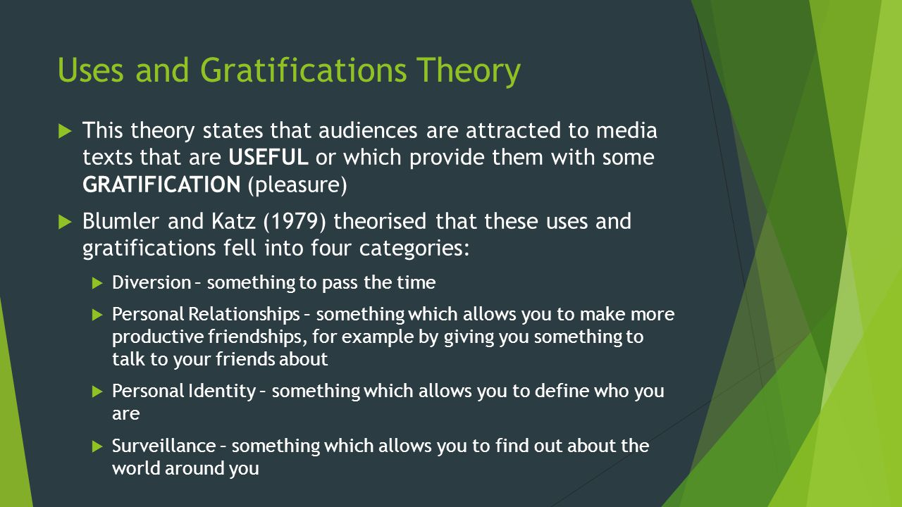 Uses and Gratifications Theory This theory states that audiences are attracted to media texts that are USEFUL or which provide them with some GRATIFIC