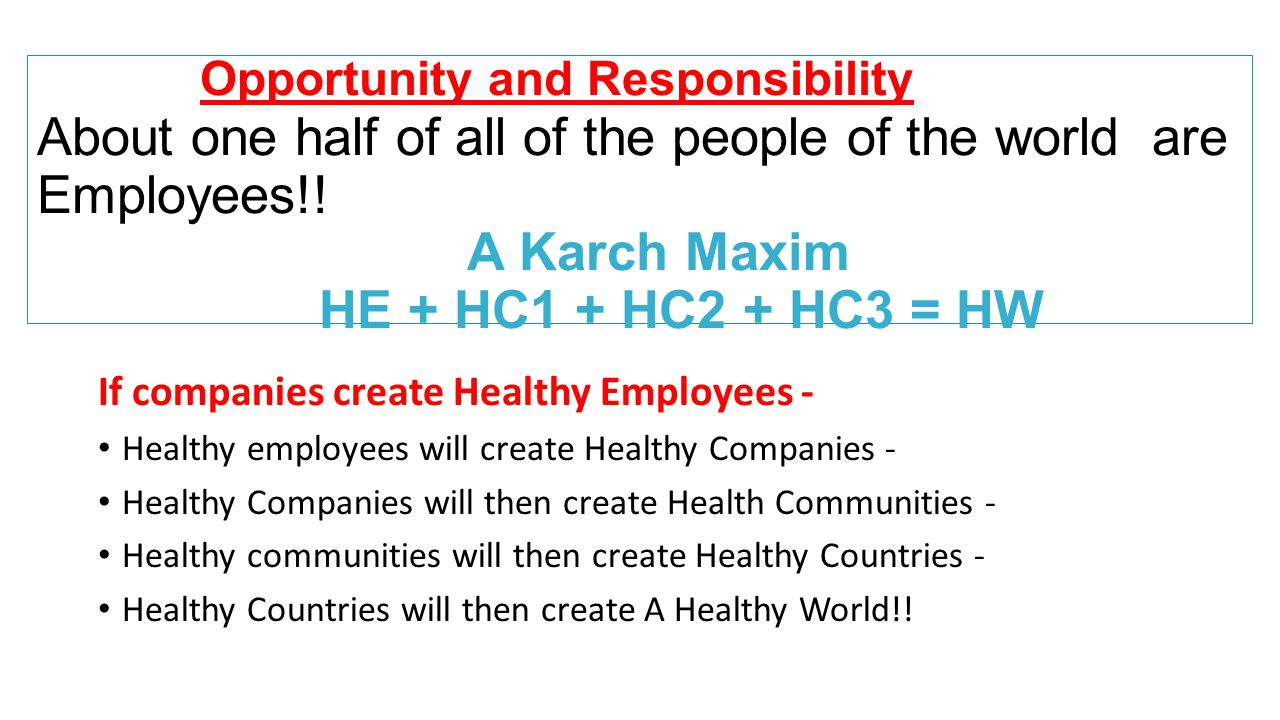 Opportunity and Responsibility About one half of all of the people of the world are Employees!! A Karch Maxim HE + HC1 + HC2 + HC3 = HW If companies c