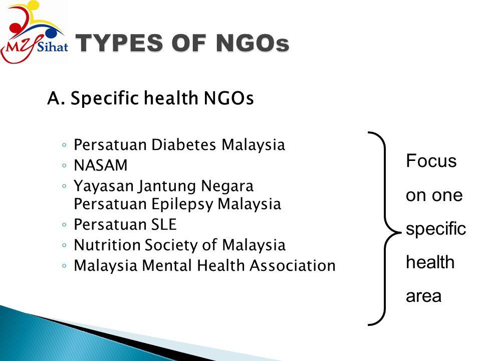 A. Specific health NGOs Persatuan Diabetes Malaysia NASAM Yayasan Jantung Negara Persatuan Epilepsy Malaysia Persatuan SLE Nutrition Society of Malays