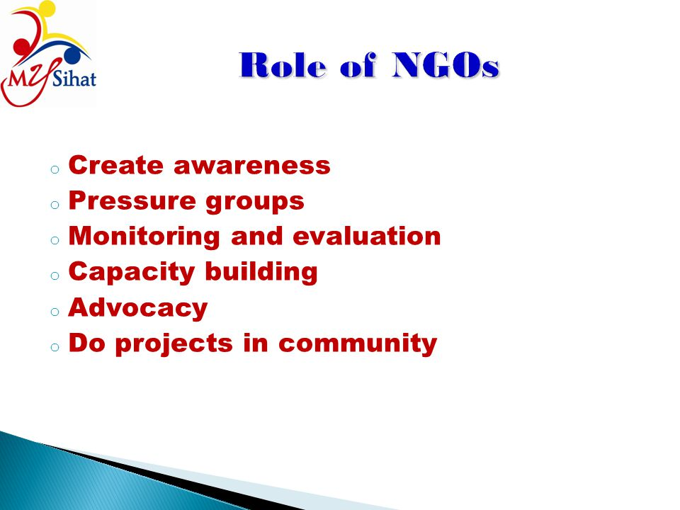 o Create awareness o Pressure groups o Monitoring and evaluation o Capacity building o Advocacy o Do projects in community