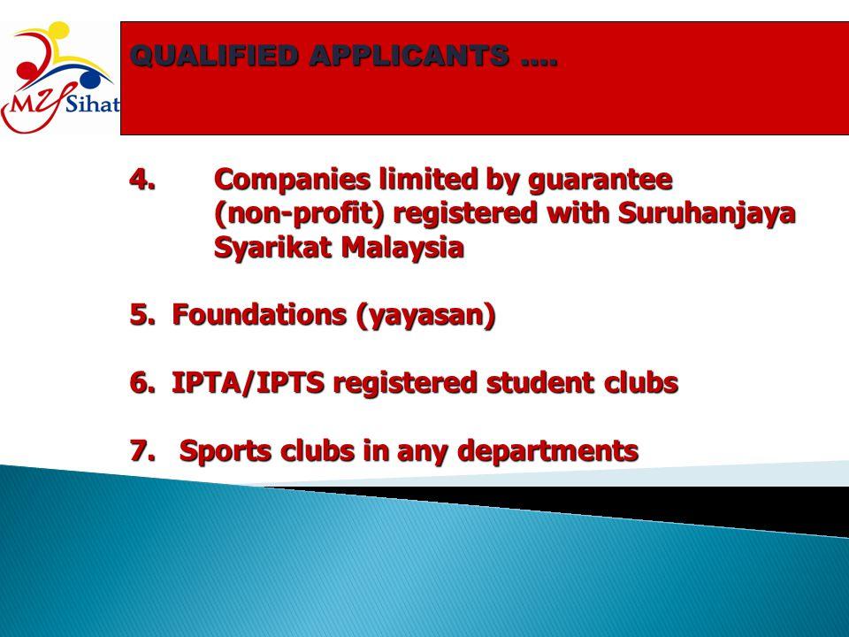 QUALIFIED APPLICANTS …. 4.Companies limited by guarantee (non-profit) registered with Suruhanjaya Syarikat Malaysia 5.Foundations (yayasan) 6.IPTA/IPT