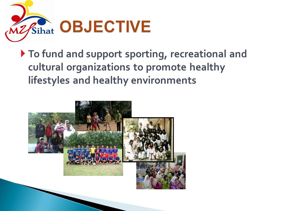 To fund and support sporting, recreational and cultural organizations to promote healthy lifestyles and healthy environments