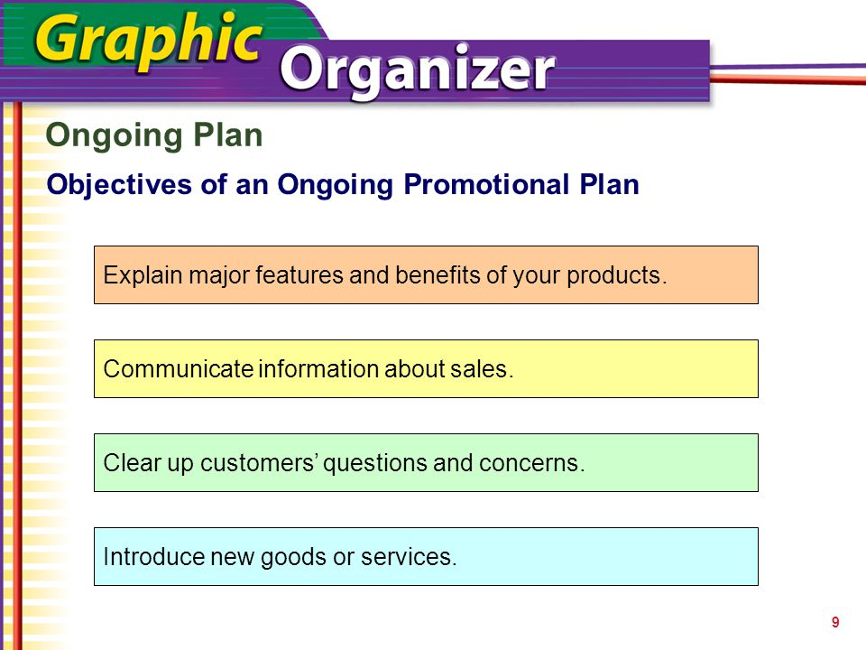 Ongoing Plan 9 Objectives of an Ongoing Promotional Plan Explain major features and benefits of your products. Communicate information about sales. Cl