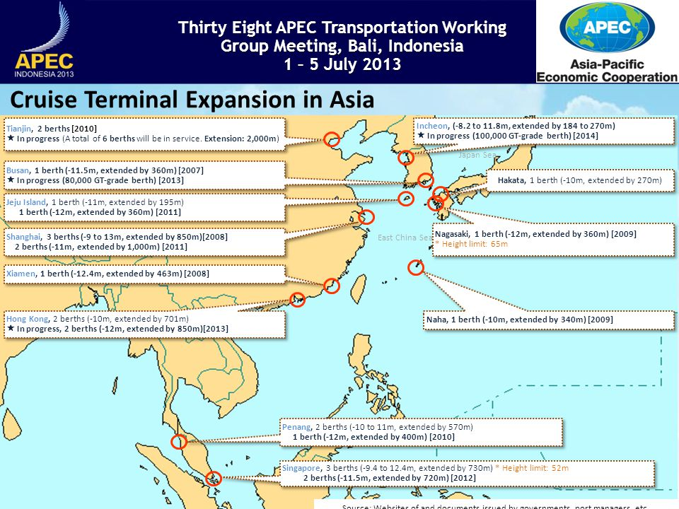 Thirty Eight APEC Transportation Working Group Meeting, Bali, Indonesia 1 – 5 July 2013 3 Japan Sea East China Sea Busan, 1 berth (-11.5m, extended by 360m) [2007] In progress (80,000 GT-grade berth) [2013] Busan, 1 berth (-11.5m, extended by 360m) [2007] In progress (80,000 GT-grade berth) [2013] Shanghai, 3 berths (-9 to 13m, extended by 850m)[2008] 2 berths (-11m, extended by 1,000m) [2011] Shanghai, 3 berths (-9 to 13m, extended by 850m)[2008] 2 berths (-11m, extended by 1,000m) [2011] Hong Kong, 2 berths (-10m, extended by 701m) In progress, 2 berths (-12m, extended by 850m)[2013] Hong Kong, 2 berths (-10m, extended by 701m) In progress, 2 berths (-12m, extended by 850m)[2013] Singapore, 3 berths (-9.4 to 12.4m, extended by 730m) * Height limit: 52m 2 berths (-11.5m, extended by 720m) [2012] Singapore, 3 berths (-9.4 to 12.4m, extended by 730m) * Height limit: 52m 2 berths (-11.5m, extended by 720m) [2012] Tianjin, 2 berths [2010] In progress (A total of 6 berths will be in service.