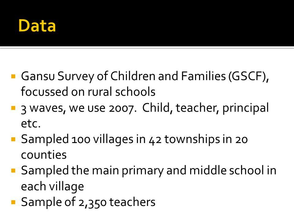 Gansu Survey of Children and Families (GSCF), focussed on rural schools 3 waves, we use 2007. Child, teacher, principal etc. Sampled 100 villages in 4