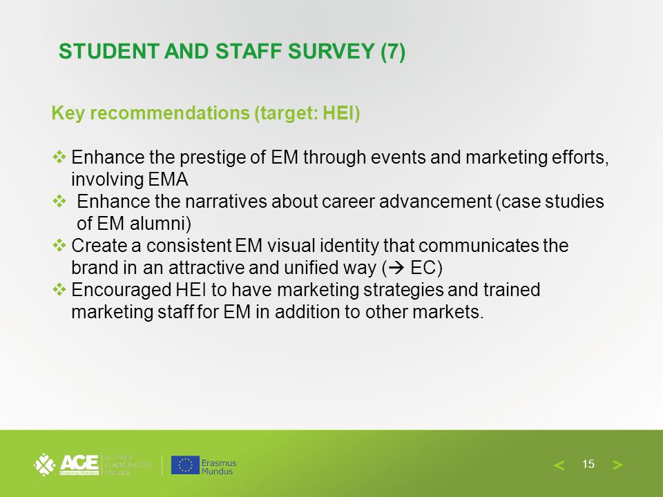 Key recommendations (target: HEI) Enhance the prestige of EM through events and marketing efforts, involving EMA Enhance the narratives about career advancement (case studies of EM alumni) Create a consistent EM visual identity that communicates the brand in an attractive and unified way ( EC) Encouraged HEI to have marketing strategies and trained marketing staff for EM in addition to other markets.