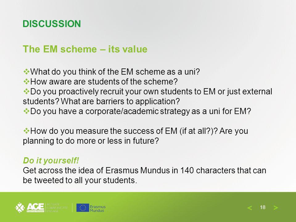 The EM scheme – its value What do you think of the EM scheme as a uni.