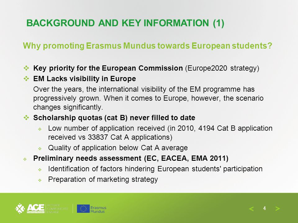 Why promoting Erasmus Mundus towards European students? Key priority for the European Commission (Europe2020 strategy) EM Lacks visibility in Europe O