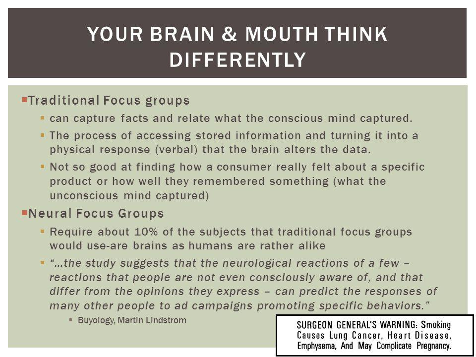 Traditional Focus groups can capture facts and relate what the conscious mind captured. The process of accessing stored information and turning it int