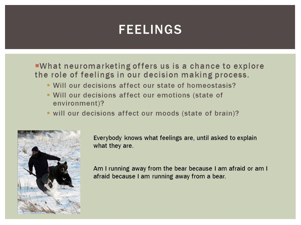 FEELINGS What neuromarketing offers us is a chance to explore the role of feelings in our decision making process. Will our decisions affect our state