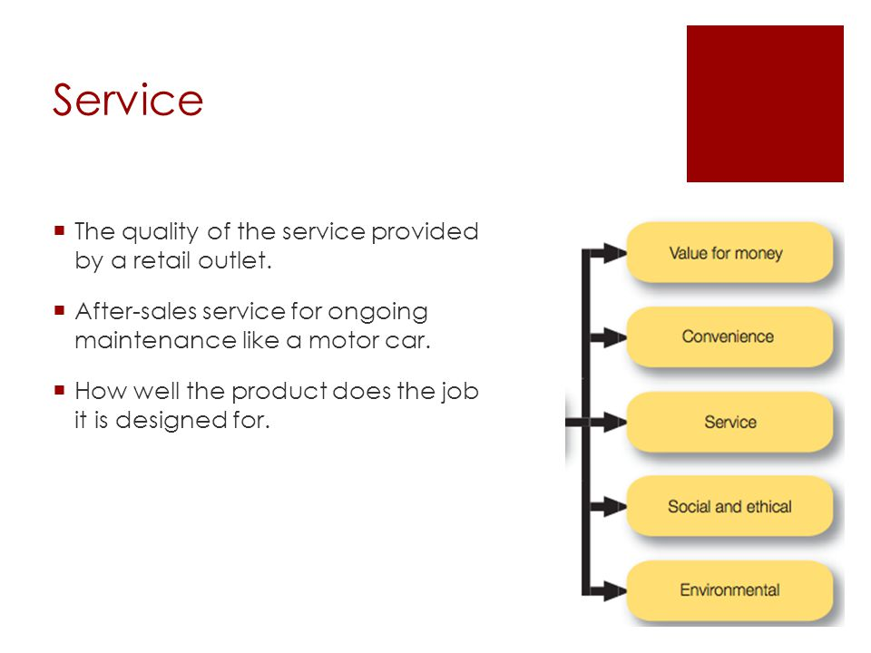 Service The quality of the service provided by a retail outlet. After-sales service for ongoing maintenance like a motor car. How well the product doe