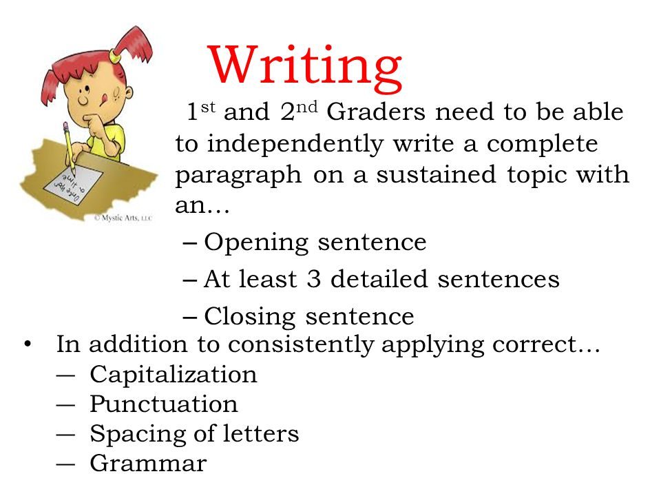 Writing 1 st and 2 nd Graders need to be able to independently write a complete paragraph on a sustained topic with an… – Opening sentence – At least 3 detailed sentences – Closing sentence In addition to consistently applying correct… Capitalization Punctuation Spacing of letters Grammar
