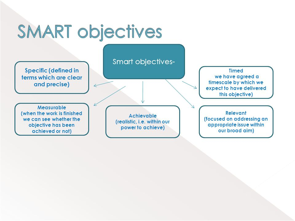 Smart objectives- Specific (defined in terms which are clear and precise) Timed (we have agreed a timescale by which we expect to have delivered this