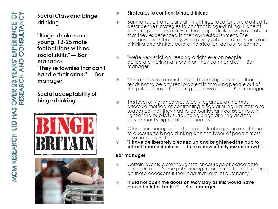 Social Class and binge drinking –