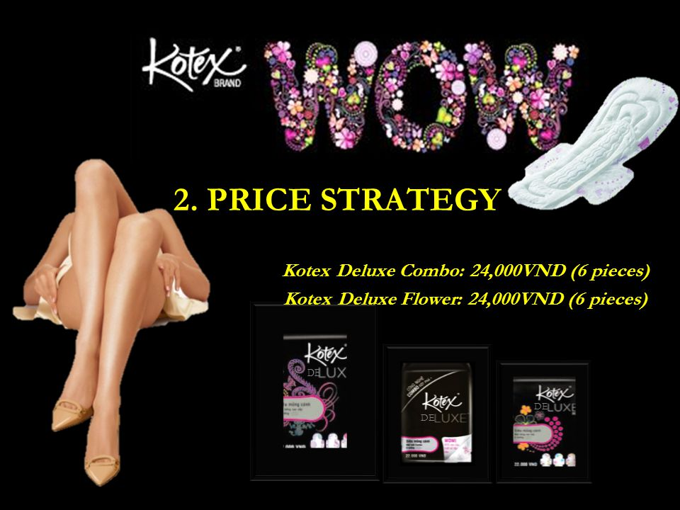 2. PRICE STRATEGY Kotex Deluxe Combo: 24,000VND (6 pieces) Kotex Deluxe Flower: 24,000VND (6 pieces)