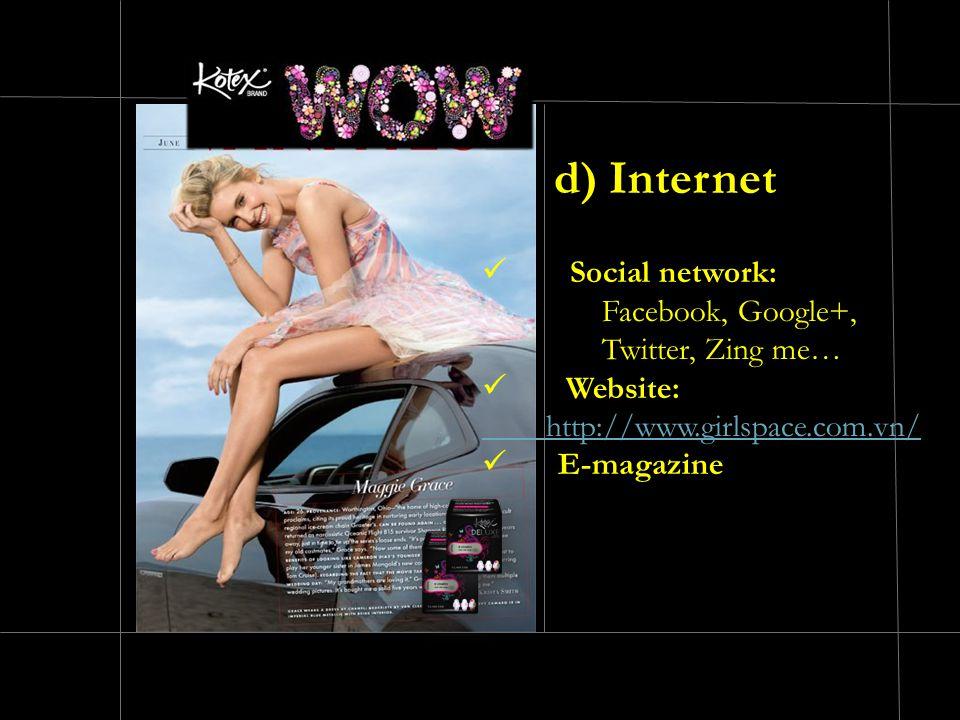 Social network: Facebook, Google+, Twitter, Zing me… Website: http://www.girlspace.com.vn/ E-magazine