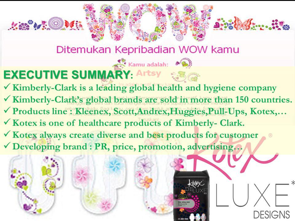 EXECUTIVE SUMMARY EXECUTIVE SUMMARY : Kimberly-Clark is a leading global health and hygiene company Kimberly-Clarks global brands are sold in more tha