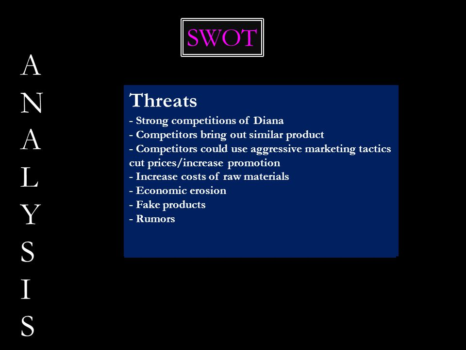 ANALYSISANALYSIS SWOT Strengths - Brand name - Market leader - Wide product-line - Nice and creative packaging - Technology - Innovation - Large distr