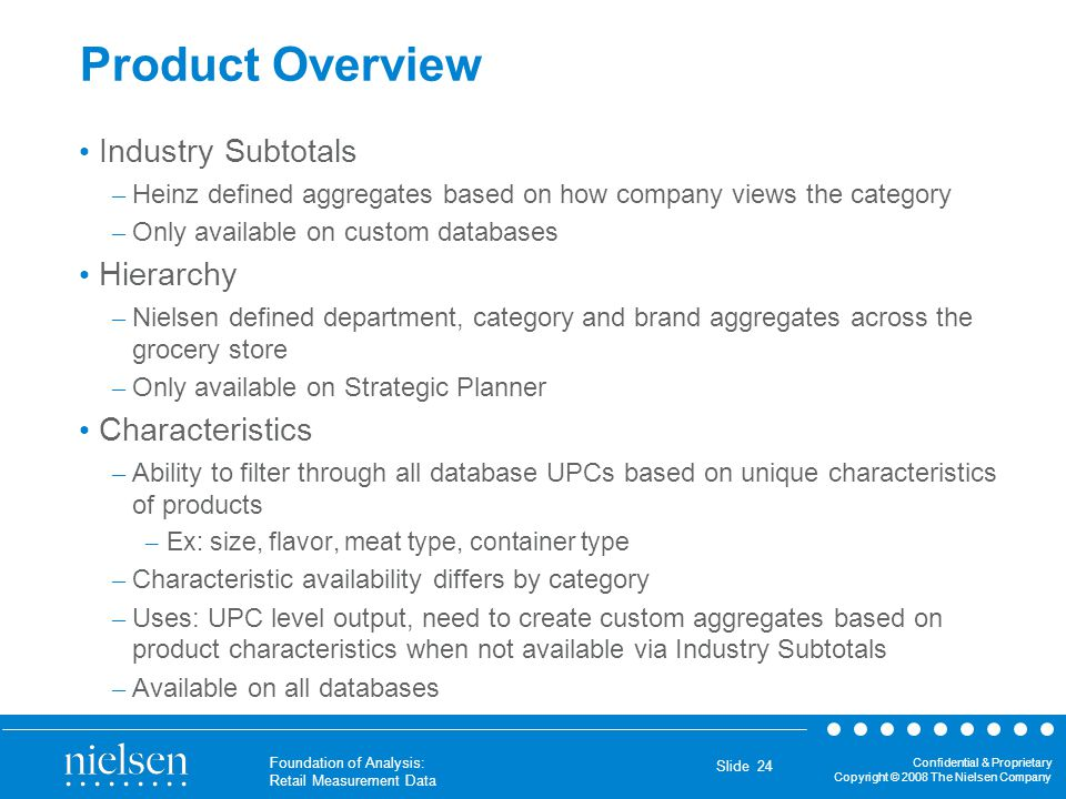 Confidential & Proprietary Copyright © 2008 The Nielsen Company Foundation of Analysis: Retail Measurement Data Slide 24 Product Overview Industry Sub