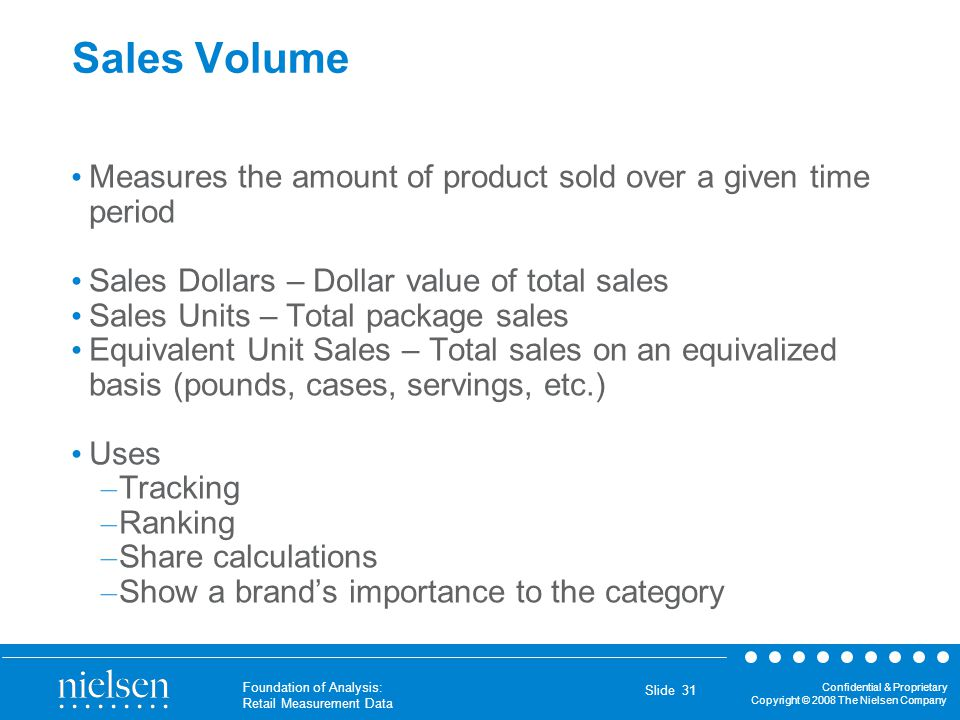 Confidential & Proprietary Copyright © 2008 The Nielsen Company Foundation of Analysis: Retail Measurement Data Slide 31 Sales Volume Measures the amo