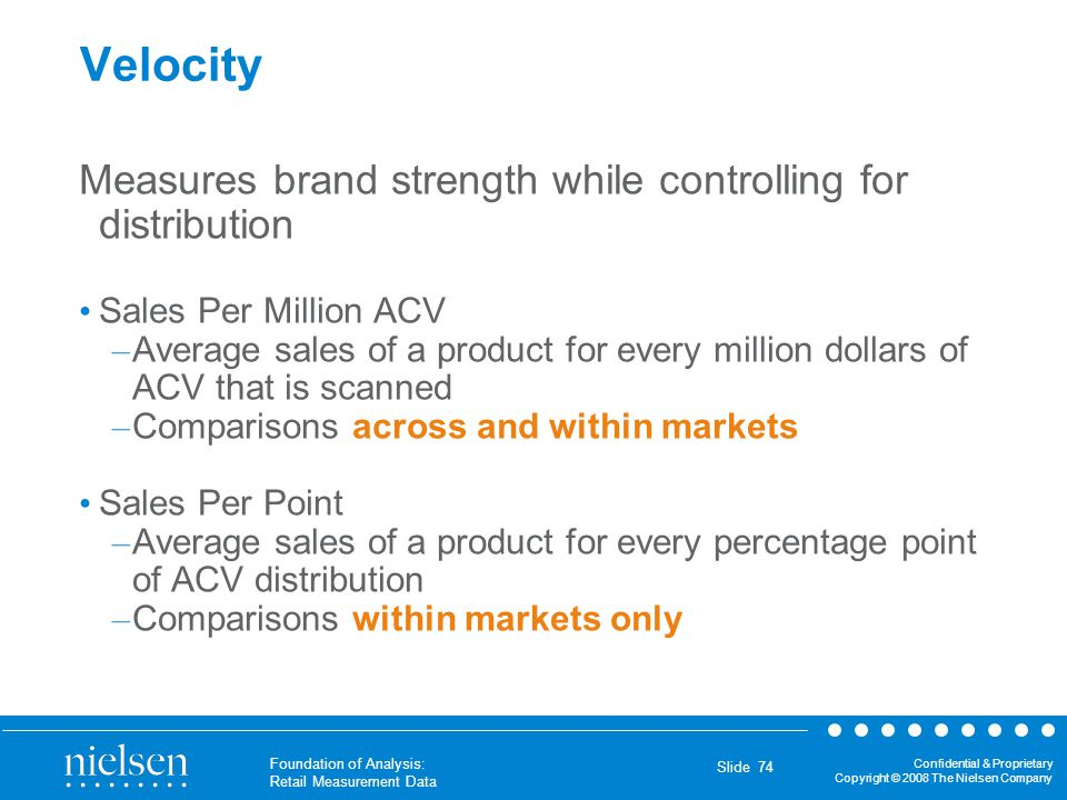 Confidential & Proprietary Copyright © 2008 The Nielsen Company Foundation of Analysis: Retail Measurement Data Slide 74 Velocity Measures brand stren