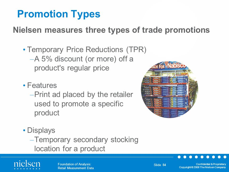 Confidential & Proprietary Copyright © 2008 The Nielsen Company Foundation of Analysis: Retail Measurement Data Slide 84 Promotion Types Temporary Pri