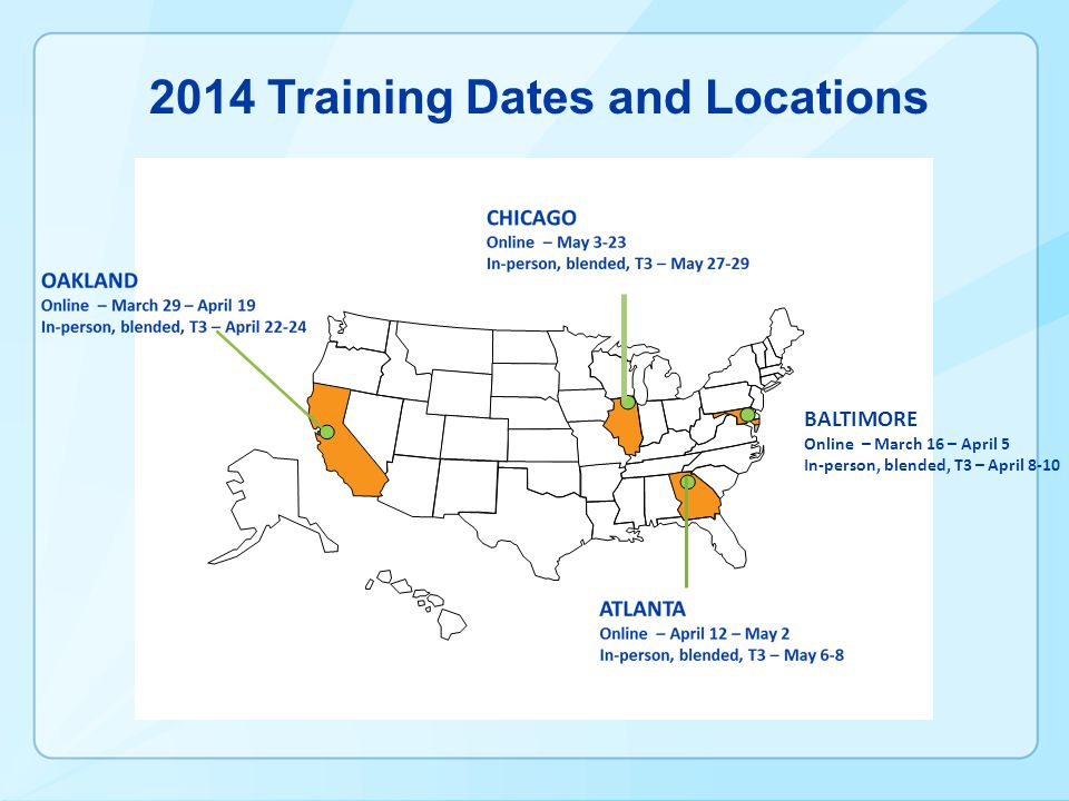 2014 Training Dates and Locations BALTIMORE Online – March 16 – April 5 In-person, blended, T3 – April 8-10