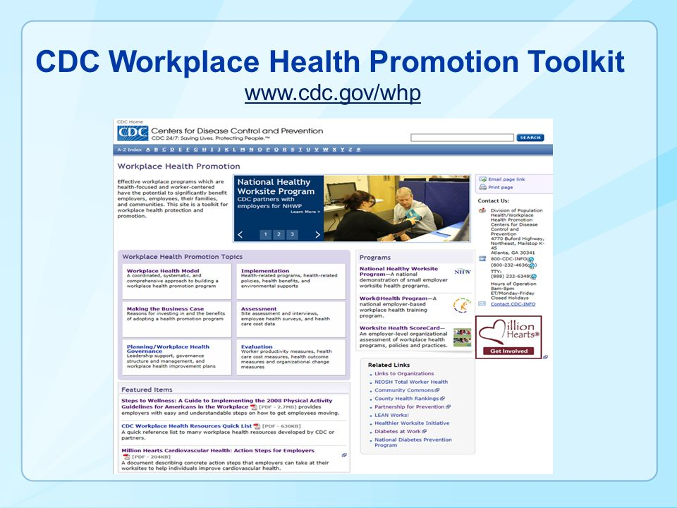 CDC Workplace Health Promotion Toolkit www.cdc.gov/whp