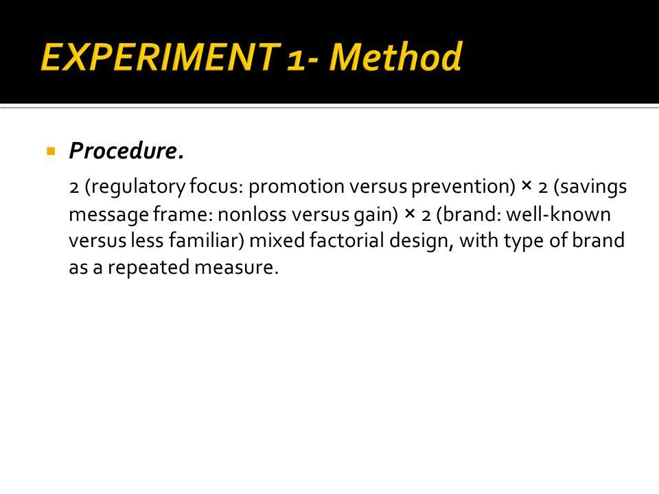 Procedure. 2 (regulatory focus: promotion versus prevention) × 2 (savings message frame: nonloss versus gain) × 2 (brand: well-known versus less famil