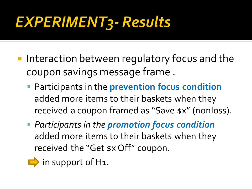 Interaction between regulatory focus and the coupon savings message frame.