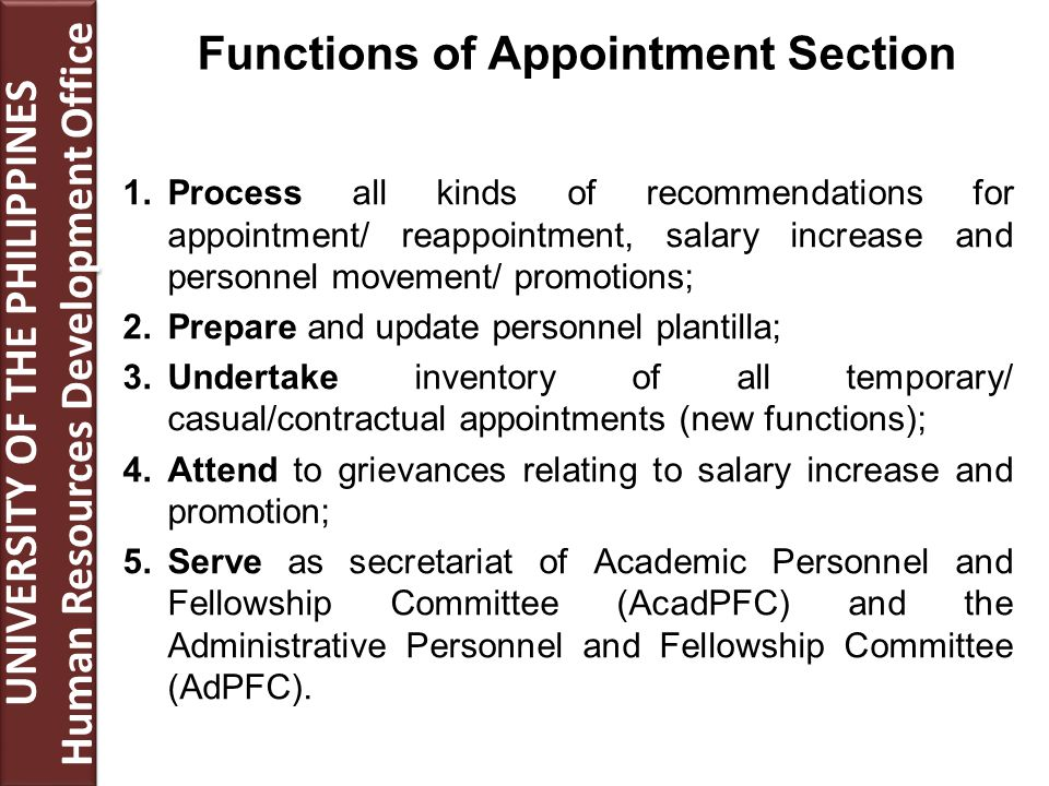 1.Process all kinds of recommendations for appointment/ reappointment, salary increase and personnel movement/ promotions; 2.Prepare and update personnel plantilla; 3.Undertake inventory of all temporary/ casual/contractual appointments (new functions); 4.Attend to grievances relating to salary increase and promotion; 5.Serve as secretariat of Academic Personnel and Fellowship Committee (AcadPFC) and the Administrative Personnel and Fellowship Committee (AdPFC).