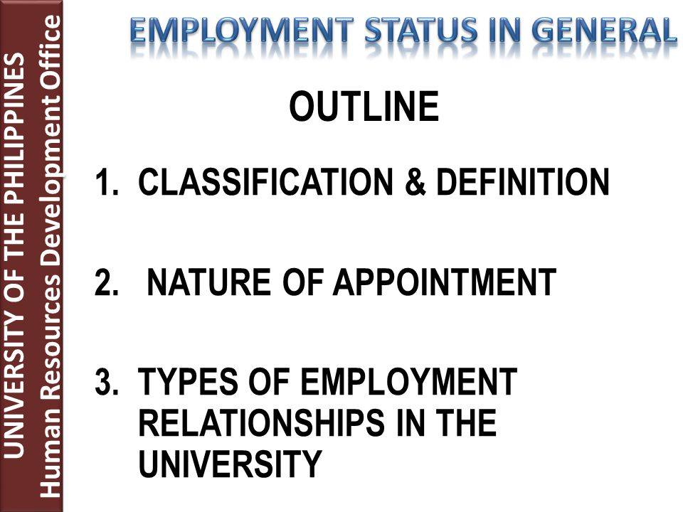 1.CLASSIFICATION & DEFINITION 2. NATURE OF APPOINTMENT 3.TYPES OF EMPLOYMENT RELATIONSHIPS IN THE UNIVERSITY UNIVERSITY OF THE PHILIPPINES Human Resou