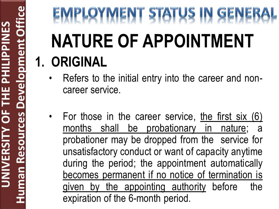 NATURE OF APPOINTMENT 1.ORIGINAL Refers to the initial entry into the career and non- career service. For those in the career service, the first six (