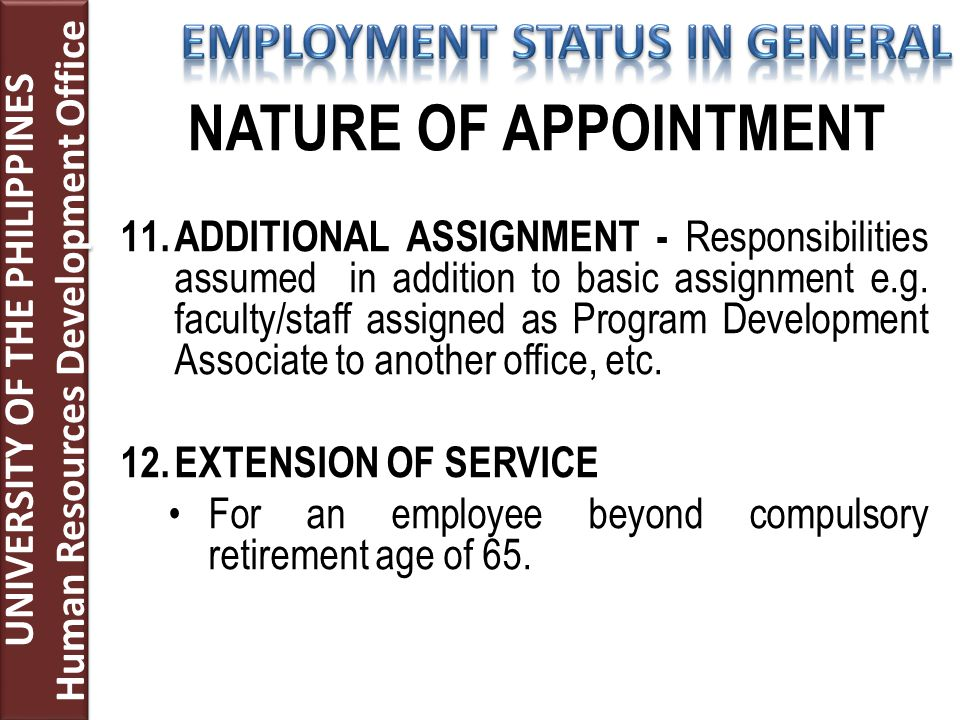 11. ADDITIONAL ASSIGNMENT - Responsibilities assumed in addition to basic assignment e.g.