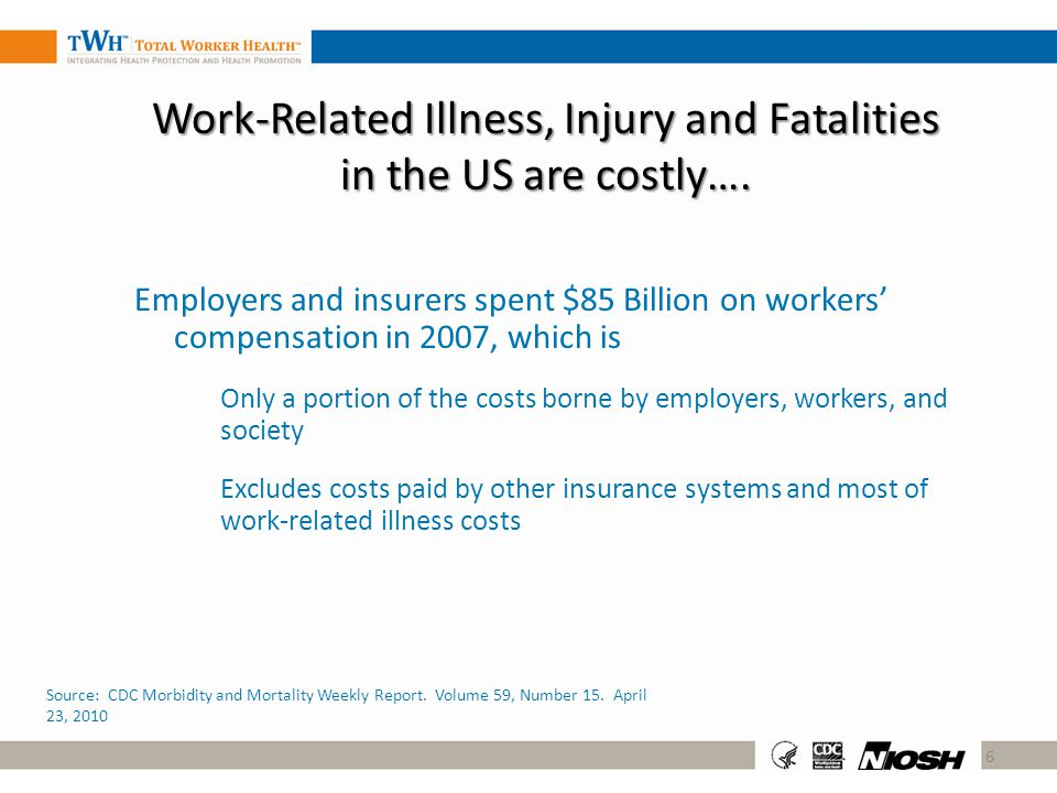 Work-Related Illness, Injury and Fatalities in the US are costly…. Employers and insurers spent $85 Billion on workers compensation in 2007, which is