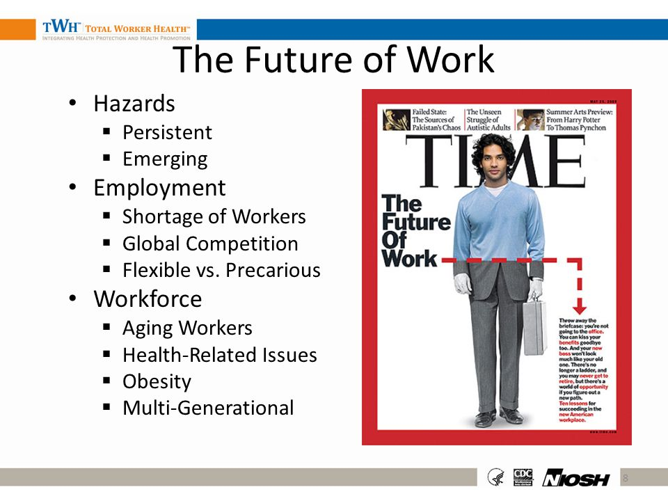 The Future of Work Hazards Persistent Emerging Employment Shortage of Workers Global Competition Flexible vs. Precarious Workforce Aging Workers Healt