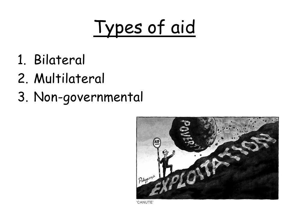 Types of aid 1.Bilateral 2.Multilateral 3.Non-governmental