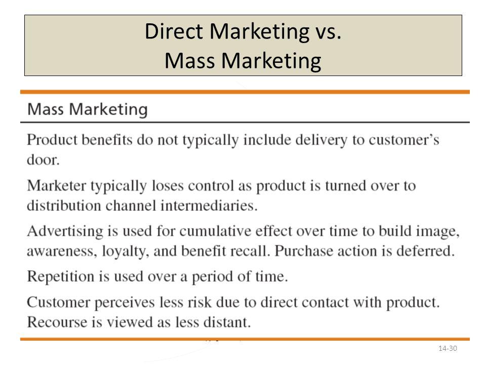 Copyright 2013, Pearson Education Direct Marketing vs. Mass Marketing 14-30