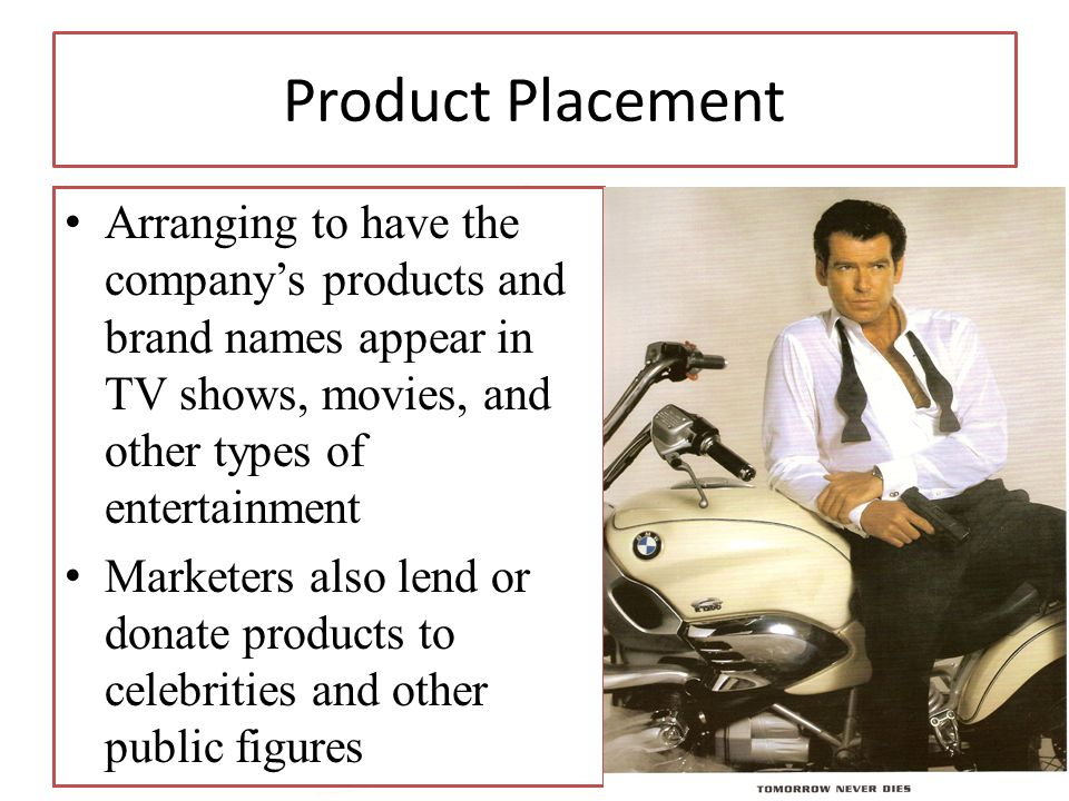 Copyright 2013, Pearson Education 14-35 Product Placement Arranging to have the companys products and brand names appear in TV shows, movies, and othe