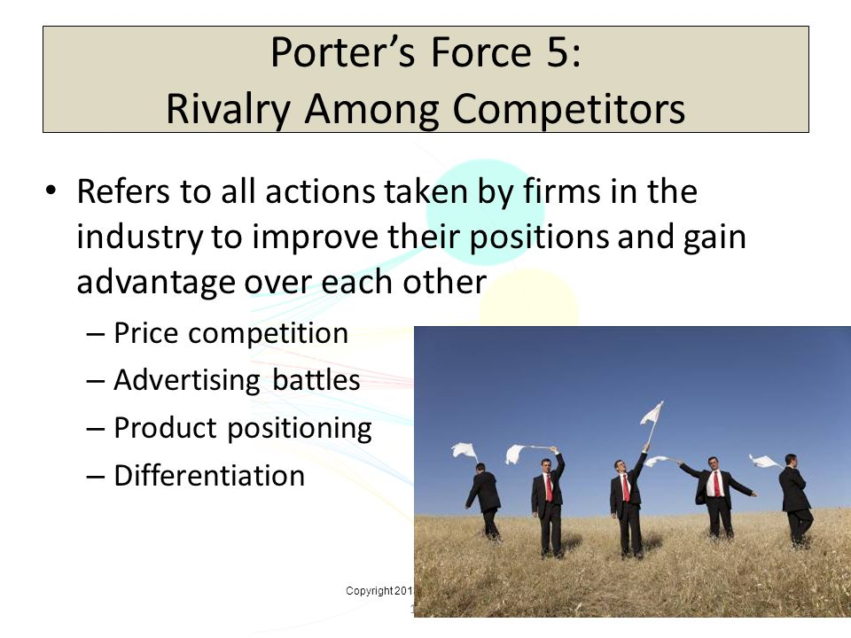 16-47 Porters Force 5: Rivalry Among Competitors Refers to all actions taken by firms in the industry to improve their positions and gain advantage ov
